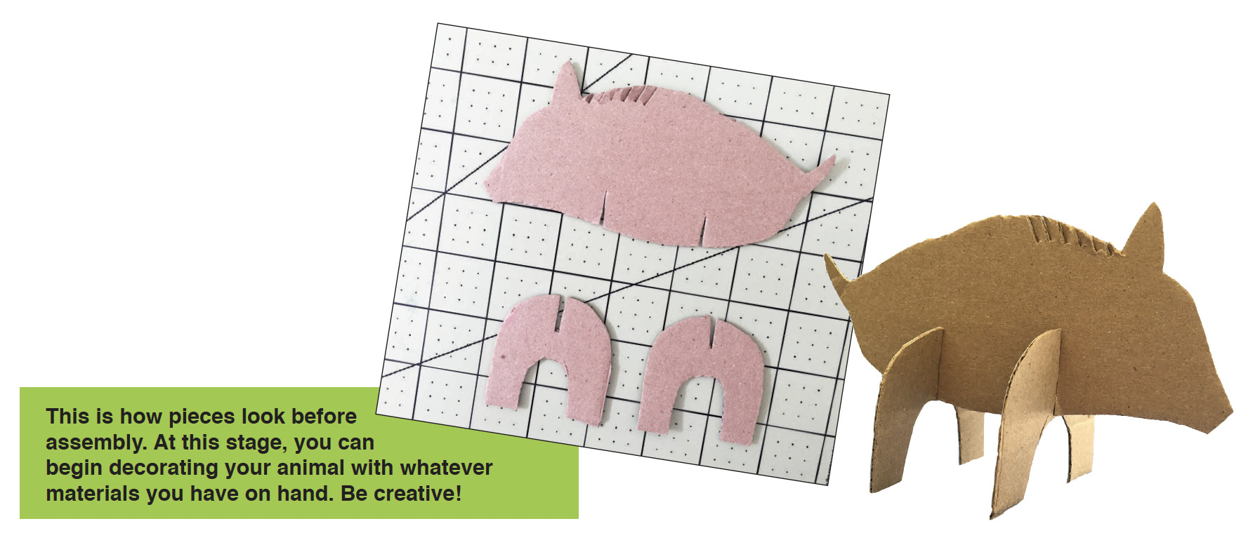 a diagram of how animal cardboard cutouts look before assembly