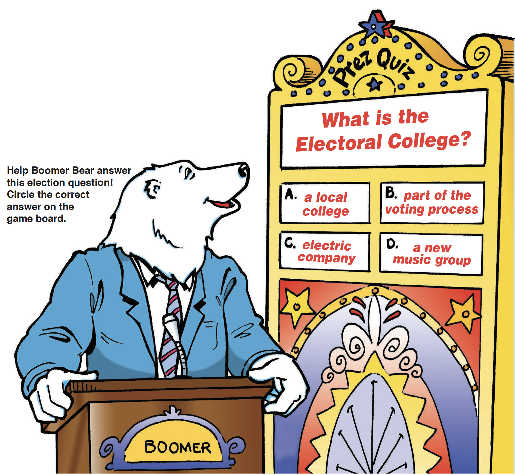 "Boomer reading a game board, ""What is the Electoral College?"""