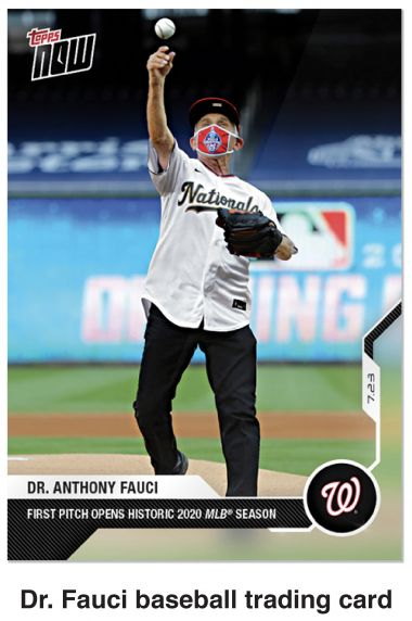 Dr. Anthony Fauci throwing a baseball featured on a baseball card.
